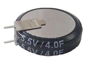 Super Capacitor Eletrolítico Axial 4.0F/5.5V D24.8H6.7 PTH S0005
