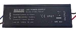 Fonte Driver Para 6 A 10 LEDs De 2W Ou 3W Bivolt IP67 K1737