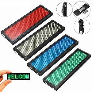 Mini Letreiro Painel LED Vermelho Bluetooth Crachá K2922