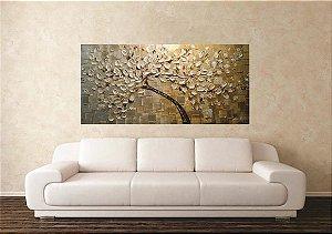 Pintura em tela - Árvores modernas ouro e prata -  60 x 120