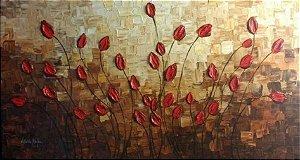 Pintura em tela quadro tulipas Tam. 140x70cm