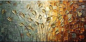 Pintura em tela quadro tulipas douradas Tam. 120 x 60cm