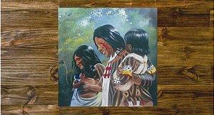 Quadro pintura em tela índios do Brasil.