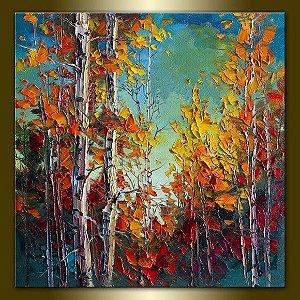Quadro Pintura em Tela Árvores Coloridas - Tam. 100x100cm