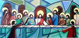 Quadro pintura em tela-Santa ceia cubista. 120 x 60 cm