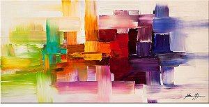 Quadro  Pintura em Tela Abstrato Moderno  70 x 140 cm