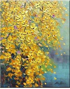 Pintura em tela -  Quadro decorativo - Flores amarelas 120cm x 80cm