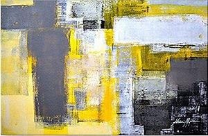 Painel decorativo - Pintura em tela abstrato espatulado