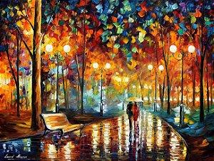Quadro pintura tela releitura Leonid - Casal passeio no bosque
