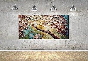 Quadro - Pintura em Tela Árvores Modernas Flores Espatuladas Efeito 3d