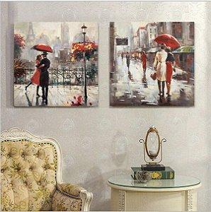Quadro Pintura em Tela Paris Chuva