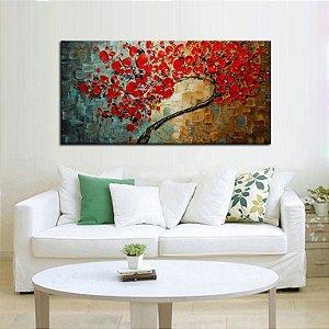 Quadro  Pintura em Tela Árvores Modernas Flores Vermelhas Espatuladas Efeito 3d