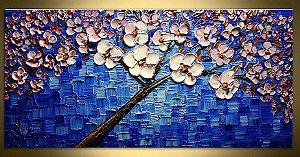 Quadro  Pintura em Tela Árvores Modernas Flores Espatuladas Efeito 3d  50cm x 100cm