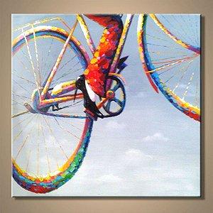 Quadro Decorativo Pintura em Tela Abstrato Moderno Bicicleta