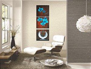 Quadro Decorativo Pintura em Tela Orquídeas azul