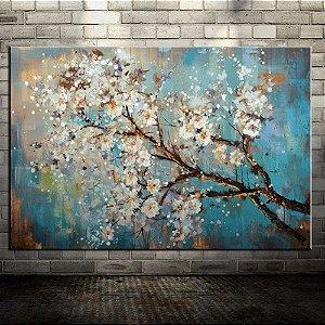 Quadro Decorativo Pintura em Tela Árvores Modernas Flores Espatulas
