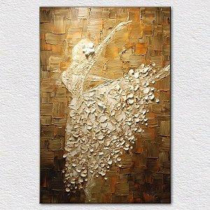 Quadro Pintura em Tela Abstrato Bailarina