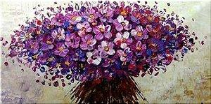 Quadro Decorativo Pintura em Tela Buquê Lilás Flores Espatuladas