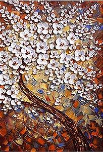 Quadro Decorativo  Pintura em Tela Árvores Modernas Flores Espatuladas Efeito 3d