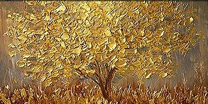 Quadro  Pintura em Tela Árvores Modernas Folhas Douradas Espatuladas