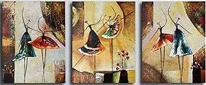 Quadro Decorativo Pintura em Tela Abstrato Moderno Bailarinas