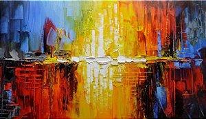 Quadro Decorativo Pintura em Tela Abstrato Moderno Espatulado