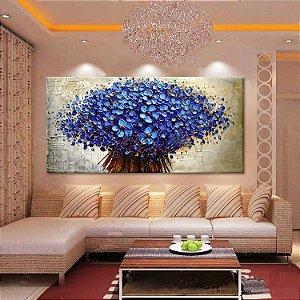 Quadro Decorativo Pintura Em Tela Floral - Buquê Azul