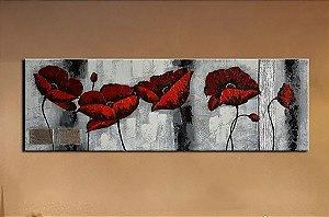 Pintura em tela flores vermelhas com fundo cinza