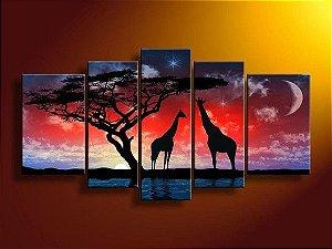 Pintura em tela Girafas da África 100cm x 170 cm