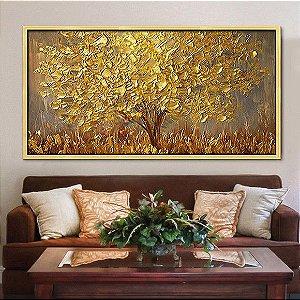 Quadro Pintura em Tela Árvores Modernas Folhas Douradas a partir do tam. 60cm x 120cm