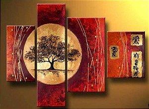 Pintura em tela Forças Orientais 4 painéis 110 cm x 150 cm