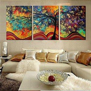 Pintura em tela Árvore Alegria Eterna 3 peças