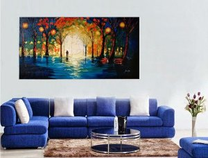 Pintura em tela quadro Noite Paris 70 cm x 150 cm