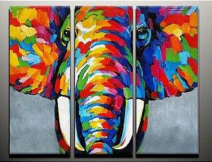 Pintura em tela tripartida Elefante da Sorte - Tam. 100 X 100