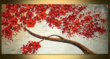 Pintura em Tela Árvores Modernas Cerejeira Flores Vermelhas Efeito 3d