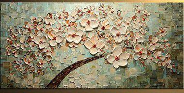 Pintura em Tela Árvores Modernas Cerejeira Espatulado Efeito 3d