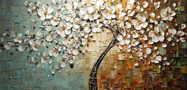 Pintura em Tela Árvores  Cerejeira Flores Brancas