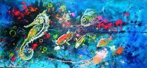 Quadro Pintura em tela Abstrato Moderno Vida Marinha