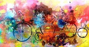 Quadro Pintura em tela Abstrato Moderno Bicicletas
