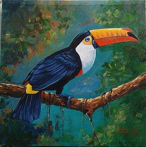 Quadro Pintura em tela Tucano