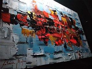 Pintura em tela abstrato Noturno Neon