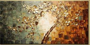 Pintura em Tela Árvores Modernas Cerejeira Flores Douradas Efeito 3d