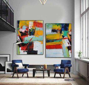 Pintura Em Tela Abstrato Moderno Colorido