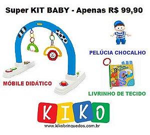 Super KIT BABY = Móbile Didático + Pelúcia Chocalho + Livrinho de Tecido