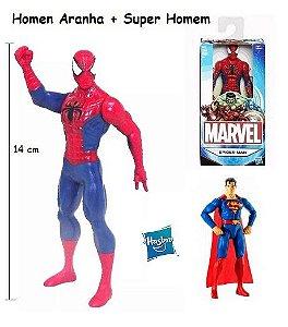 Boneco Homem Aranha + Super Homem - Hasbro - 14 cm
