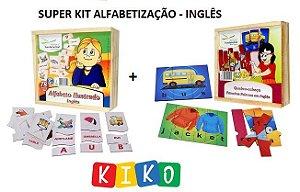 Super KIT de Alfabetização INGLÊS com Alfabeto e Quebra Cabeças