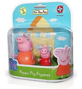 Miniaturas Família  da Peppa -  Mamãe Pig e Peppa Pig - Estrela