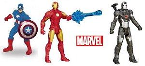 KIT com 3 bonecos Avengers Marvel (Capitao America, Homen de Ferro e War Machine) - Hasbro