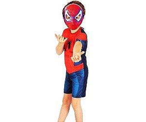 Fantasia Spider Man (Homem Aranha) com Máscara com luz