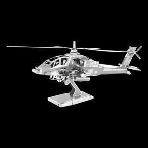 Réplica de Montar - Helicóptero AH-64 Apache - Quebra Cabeça 3D - Aço Inox